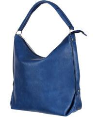 YooY Prostorná koženková kabelka modrá