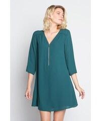 Robe évasée zippée m3/4 Vert Polyester - Femme Taille 36 - Cache Cache