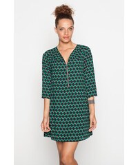 Robe évasée zippée manches3/4 Vert Polyester - Femme Taille 36 - Cache Cache