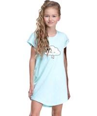 Taro Dívčí noční košilka Liana tyrkysová s obláčkem