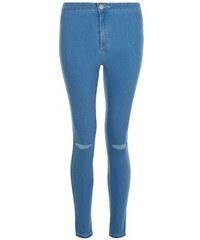 New Look Teenager – Blaue superenge Skinny-Jeans mit hohem Bund und Rissen am Knie