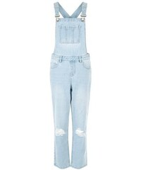 New Look Hellblaue Jeans-Latzhose mit zerrissenen Knien