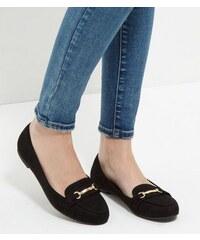 New Look Schwarze Loafer aus Wildlederimitat mit Schnalle