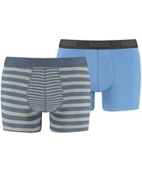 2PACK Pánské Boxerky Puma Striped Colour Block Vintage Indigo Long