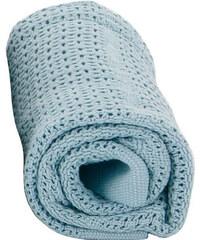 Baby Dan Dětská háčkovaná bavlněná deka Babydan - světle modrá