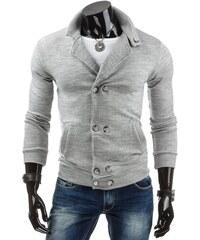 Moderní pánský šedý svetr s kapsami