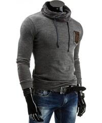 Tmavě šedý moderní pánský svetr s vyšším límcem