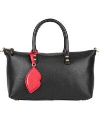 Lulu Guinness Sacs portés main, Frances Small Grainy Leather Black en noir