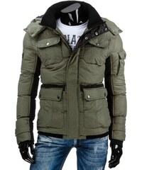 Moderní zelená zimní pánská bunda