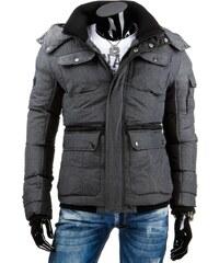 Exkluzivní tmavě šedá pánská bunda zimní
