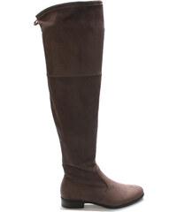 Šedé elastické kozačky nad kolena Claudia Ghizzani