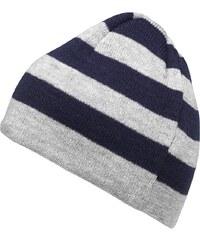 Kangaroo Poo Junior Striped Beanie Hat Navy/Grey Marl