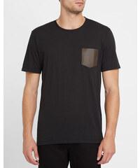 THE KOOPLES Schwarzes T-Shirt mit Rundhalsausschnitt und Ledertaschen