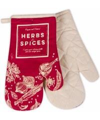 Kuchyňské bavlněné rukavice chňapky SPICES, červená, 100% bavlna 18x30 cm Essex