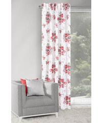 Dekorační závěs FLOWERS bílá/červená 140x250 cm MyBestHome Varianta: závěs - 1 kus 140x250 cm