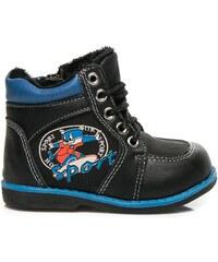 SPORT Pohodlné černé boty s kožíškem