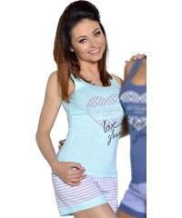 Taro Dámské letní pyžamo Love sleep tyrkysové