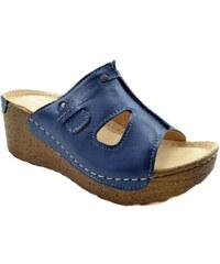 RB Pacut Dámské kožené modré pantofle 39