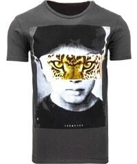 Tmavé pánské tričko s krátkým rukávem leopard