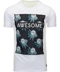Bílé pánské triko s potiskem AWESOME