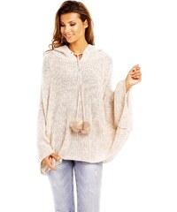 Luxusní dámské pletené pončo s kapucí - světle béžové