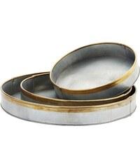 Madam Stoltz Kulatý zinkový tác Brass border Velikost S