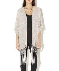 New Look Verzierter, langer Fransen-Kimono in Zartrosa