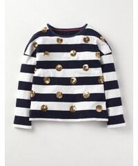 Glitzerndes Party-T-Shirt Navy Mädchen Boden