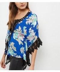 New Look Mela – Blauer Kimono mit Blumenmuster Spitzenbesatz