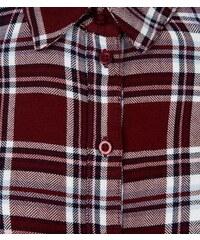 New Look Teenager – Rot-kariertes schulterfreies Hemd zum Binden