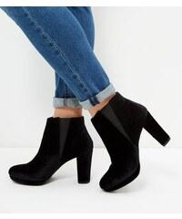 New Look Schwarze Chelsea-Stiefel aus Samt mit Blockabsatz