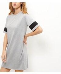New Look Graues Minikleid mit gestreiften Ärmeln