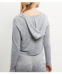 New Look Hellgrauer Feinstrick-Pullover mit kurz geschnittener Kapuze