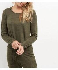 New Look Feinstrick-Pullover mit kurz geschnittener Kapuze in Khaki