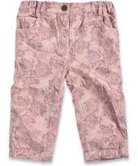 Blue Seven Dívčí kalhoty s květy - béžové