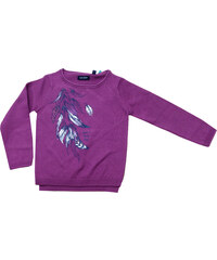Blue Seven Dívčí svetr s peříčky - fialový
