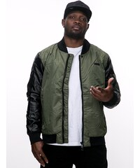 RocaWear Leather Sleeves Bomber Jacket Grey Olive