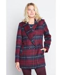 Manteau motif carreaux col cranté Noir Polyester - Femme Taille 1 - Cache Cache