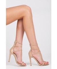 CNB Romantické béžové sandály s páskami okolo kotníku