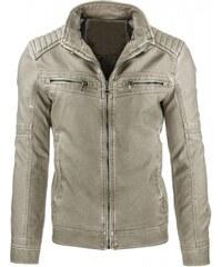 Pánská kožená bunda Jeremy béžová - béžová