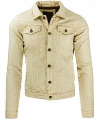 Pánská kožená bunda Obi béžová - béžová