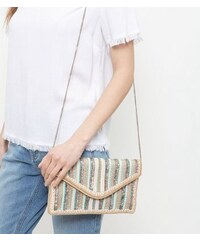 New Look Rosafarbene Clutch mit Paillettenstreifen