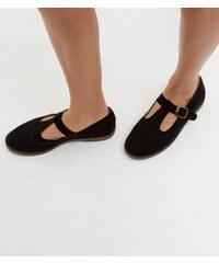 New Look Schwarze Schuhe aus Wildlederimitat mit Riemen und T-Steg