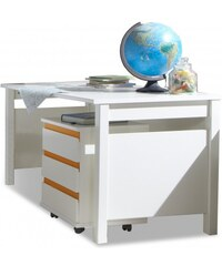Wimex Bibi - Pracovní stůl, s mobilním regálem (alpská bílá, oranžová)