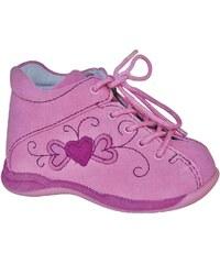 Protetika Dívčí kožené kotníčkové capáčky Baby - růžové