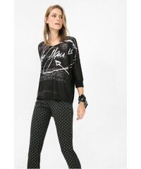 Desigual černé triko Suzel s leopardím motivem