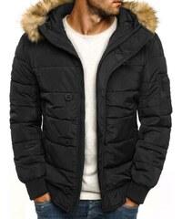 J. Style Moderní praktická černá zimní bunda s kapucí J.STYLE 3098