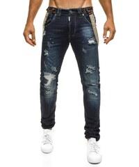 TMK Stylové moderní tmavě modré džíny se šlemi TMK 96168