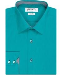 Pánská košile AMJ jednobarevná JDSR213, petrolejová, dlouhý rukáv, slim fit