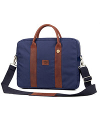 FAGUO Blaue Laptop-Tasche aus Nylon und Leder